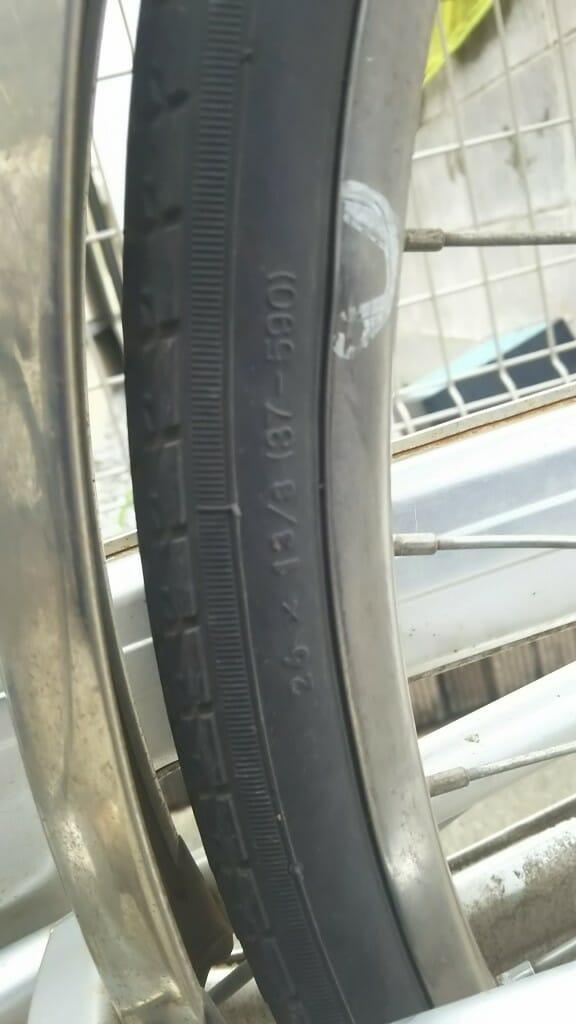 ママチャリのタイヤのサイズ表記